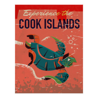 Experience the cook islands vintage travel poster