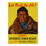 Experienced Seamen Needed! -- Merchant Marine Poster