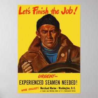 Experienced Seamen Needed! -- Merchant Marine Poster