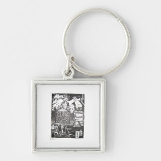 Experiment Silver-Colored Square Keychain