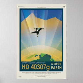 Experimente la gravedad de una tierra estupenda HD Póster