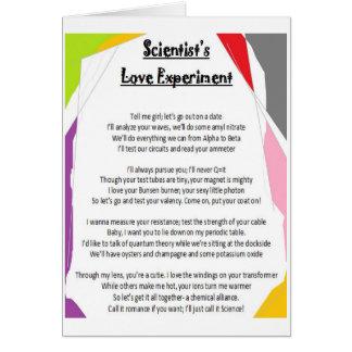 Experimento del amor del científico tarjeta de felicitación