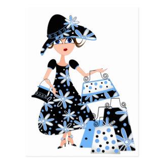 Expert Shopper in Blue Postcard