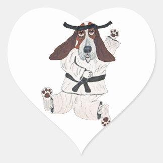 Experto de la correa negra de Basset Hound Pegatina En Forma De Corazón