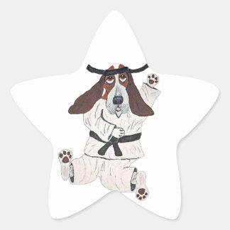 Experto de la correa negra de Basset Hound Pegatina En Forma De Estrella