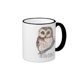 Experto de Owling, pequeño búho divertido Taza De Dos Colores