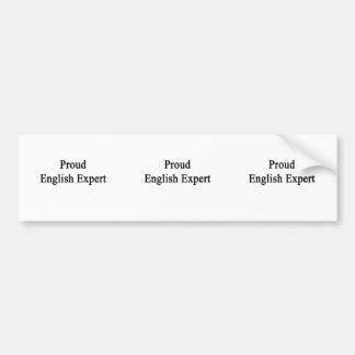 Experto inglés orgulloso etiqueta de parachoque