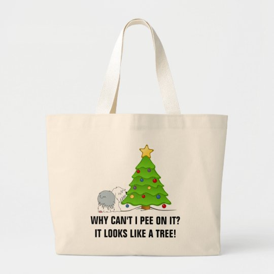 Explain the meaning of Christmas to your dog now! Large Tote Bag
