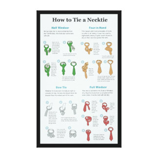 Explanation Chart of How to Tie a Necktie Gallery Wrapped Canvas