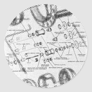 Exploded Hub Diagram (black/white) Classic Round Sticker
