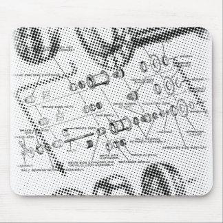 Exploded Hub Diagram (black/white) Mouse Pad