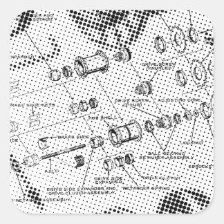 Exploded Hub Diagram (black/white) Square Sticker