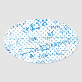 Exploded Hub Diagram (blue) Oval Sticker