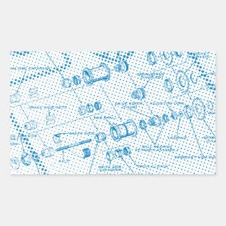 Exploded Hub Diagram (blue) Rectangular Sticker
