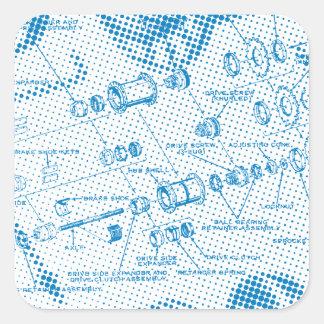 Exploded Hub Diagram (blue) Square Sticker