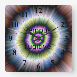Exploding Blue Green and Pink Square Wall Clock