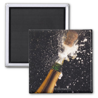 Exploding champagne bottle 2 inch square magnet
