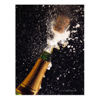 Exploding champagne bottle postcard