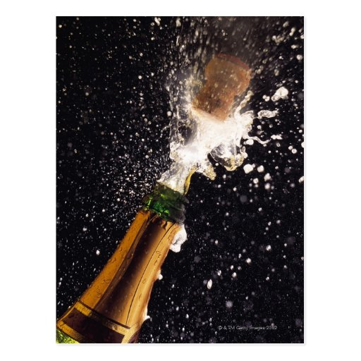 Exploding champagne bottle post cards