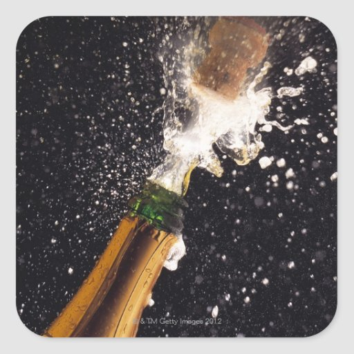 Exploding champagne bottle square stickers