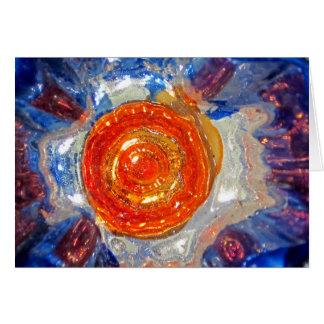 Exploding Cosmos Art Glass - Van Gogh Orange Sun Card