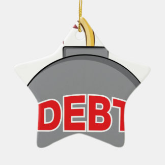 Exploding Debt Bomb Cartoon Double-Sided Star Ceramic Christmas Ornament