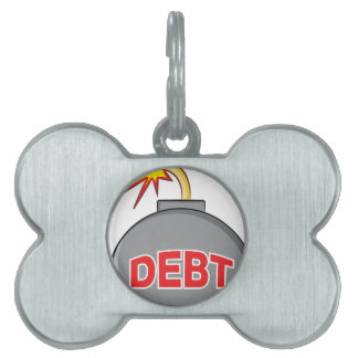 Exploding Debt Bomb Cartoon Pet ID Tag