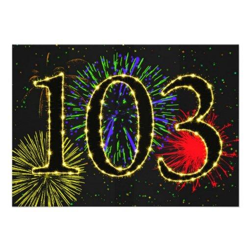 Exploding fireworks 103rd birthday party invitate invitation