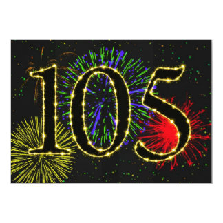 Exploding fireworks 105th birthday party invitate 5x7 paper invitation card