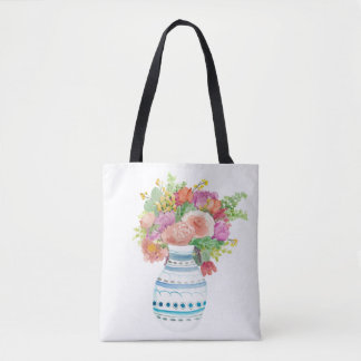 Exploding Flower Vase Tote Bag