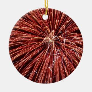 Exploding Red Fireworks Ceramic Ornament
