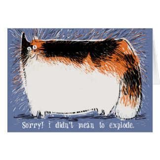 Exploding shedding calico cat apologizes card