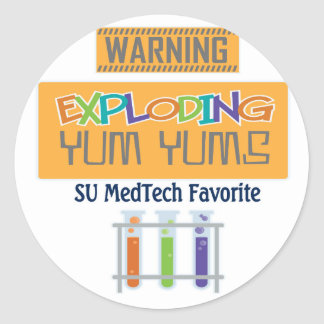 exploding yums classic round sticker
