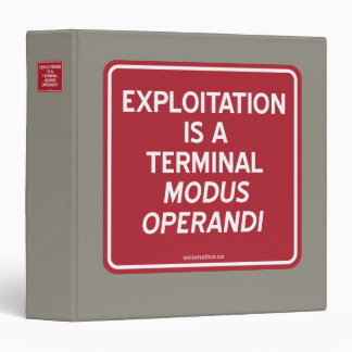 EXPLOITATION IS A TERMINAL MODUS OPERANDI BINDER