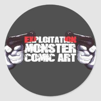 EXPLOITATION MONSTER COMIC ART CLASSIC ROUND STICKER