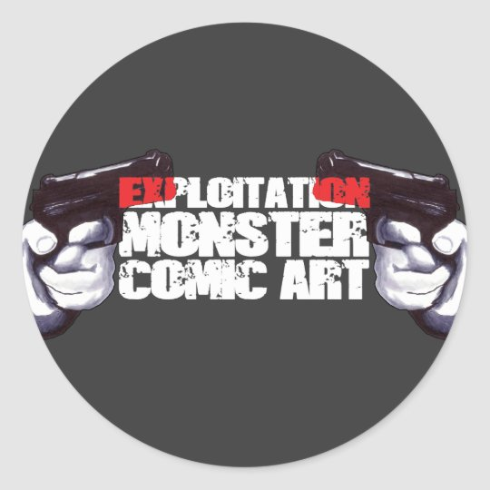 EXPLOITATION MONSTER COMIC ART CLASSIC ROUND STICKER