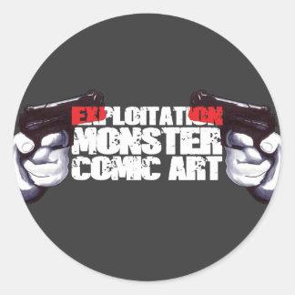 EXPLOITATION MONSTER COMIC ART ROUND STICKER