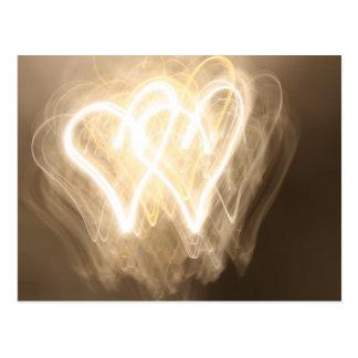 Exploración de la luz: corazones postal