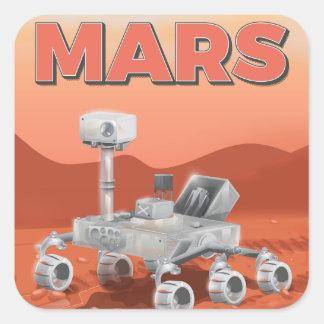 Exploración Rover de Marte Pegatina Cuadrada
