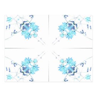 Exploración teñida azul 4 del wildflower para tarjetas postales
