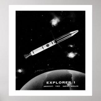 Explorador 1 los E.E.U.U. Primer satélite Póster