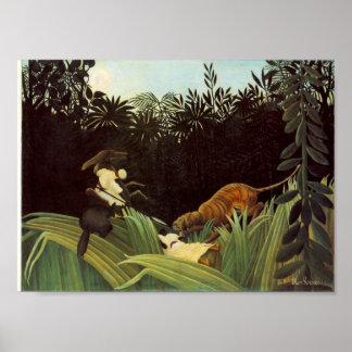 Explorador atacado por un tigre póster