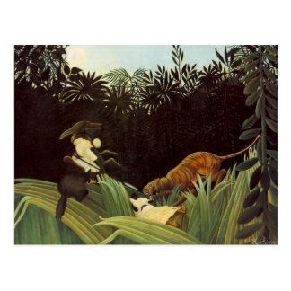 Explorador atacado por un tigre tarjeta postal