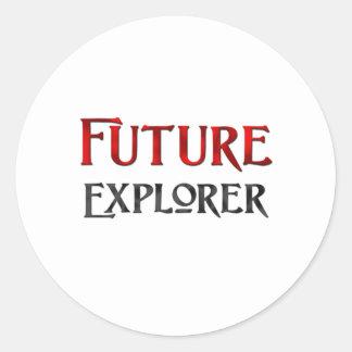 Explorador futuro pegatina redonda