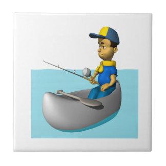 Explorador que pesca 2 azulejo cuadrado pequeño