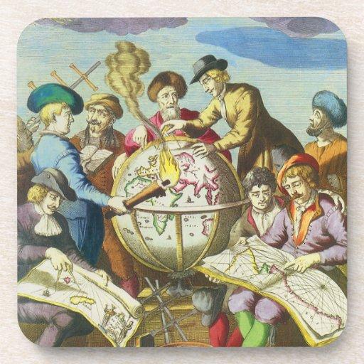 Exploradores del vintage con el mapa antiguo del g posavasos de bebida