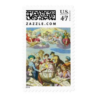 Exploradores del vintage con el mapa antiguo del timbres postales
