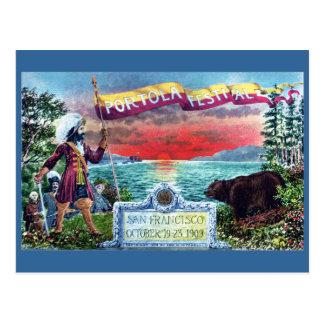Exploradores y oso del festival de Portola en el Tarjetas Postales