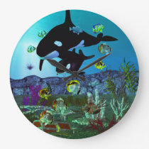 Exploration 3D Aquarium ORCA Large Clock