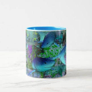 Exploration 3D Sharks Two-Tone Coffee Mug